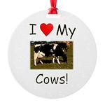 Love My Cows Round Ornament