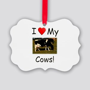 Love My Cows Picture Ornament