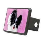 Papillon (White and Black) Rectangular Hitch Cover