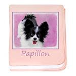 Papillon (White and Black) baby blanket