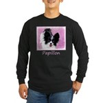 Papillon (White and Black Long Sleeve Dark T-Shirt