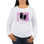 Papillon (White and Bl Women's Long Sleeve T-Shirt
