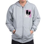 Papillon (White and Black) Zip Hoodie