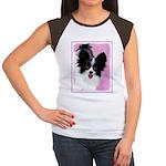 Papillon (White and Bl Junior's Cap Sleeve T-Shirt