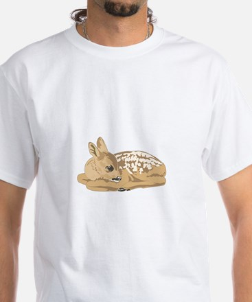 Fawn (Baby Deer) White T-Shirt