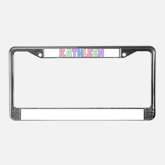 Kathleen Rainbow Pastel License Plate Frame