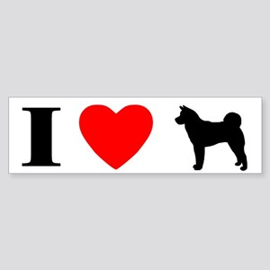 I Love Akita Bumper Sticker