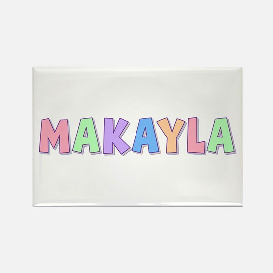 Makayla Rainbow Pastel Rectangle Magnet
