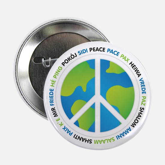 """World Peace Sign 2.25"""" Button"""