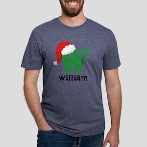 Christmas Santa Hat W Monog Mens Tri-blend T-Shirt