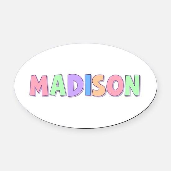 Madison Rainbow Pastel Oval Car Magnet