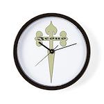 Tan Cross Jesus Wall Clock