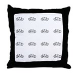 Tandem Vintage Bike Pattern Throw Pillow