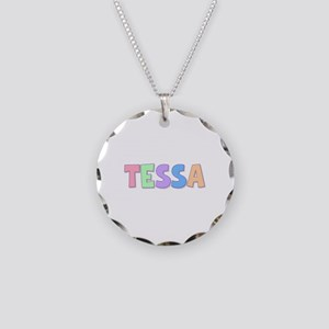 Tessa Rainbow Pastel Necklace Circle Charm
