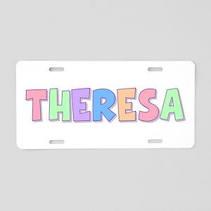 Theresa Rainbow Pastel Aluminum License Plate