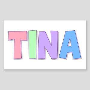 Tina Rainbow Pastel Rectangle Sticker