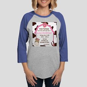 Cow Print and Horse Birthday I Womens Baseball Tee
