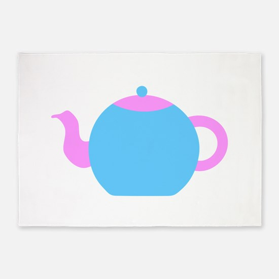 Blue and Pink Teapot. 5'x7'Area Rug