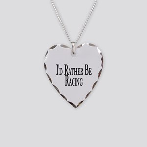Rather Be Racing Necklace Heart Charm