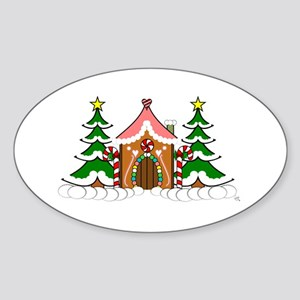 Cute Gingerbread house for Christmas Sticker (Oval