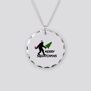 Merry Squatchmas Necklace Circle Charm