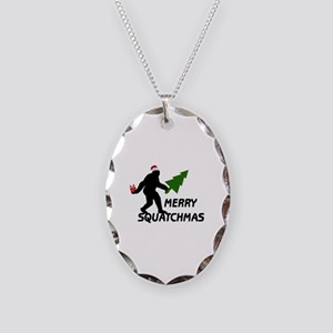 Merry Squatchmas Necklace Oval Charm