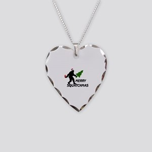 Merry Squatchmas Necklace Heart Charm