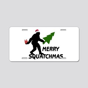 Merry Squatchmas Aluminum License Plate