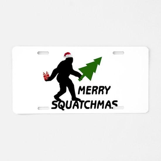 Merry Squatchmas Aluminum License Plate