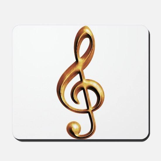 Gold treble clef Mousepad