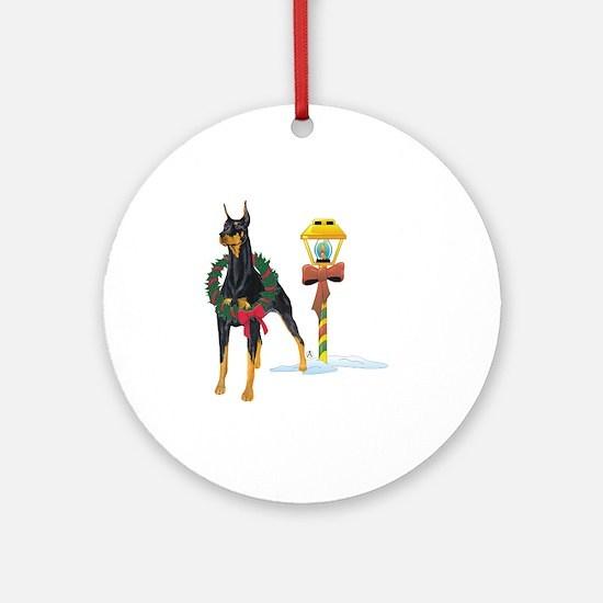 Doberman Holidays Ornament (Round)