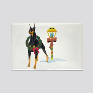 Doberman Holidays Rectangle Magnet