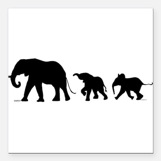 """Elephant Square Car Magnet 3"""" x 3"""""""