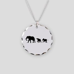 Elephant Necklace Circle Charm