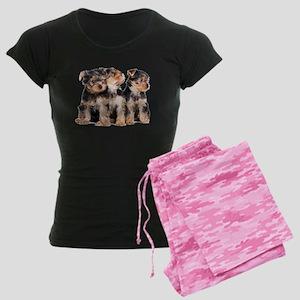 Yorkie Puppies Women's Dark Pajamas