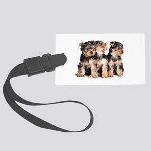 Yorkie Puppies Large Luggage Tag