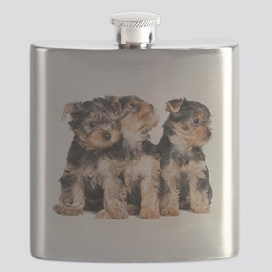 Yorkie Puppies Flask