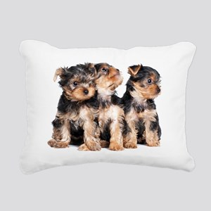 Yorkie Puppies Rectangular Canvas Pillow