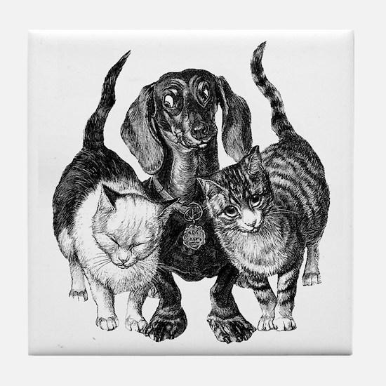 Dachshund & Friend Tile Coaster