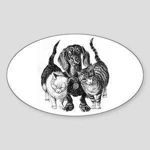 Dachshund & Friend Sticker (Oval)