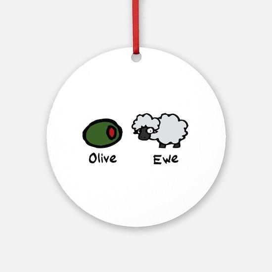 Olive Ewe Ornament (Round)