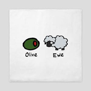 Olive Ewe Queen Duvet