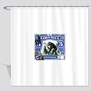 1906 Liberia Chimpanzee Postage Stamp Shower Curta