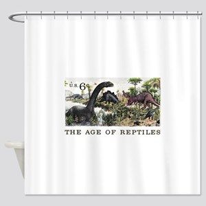 1970 U.S. Dinosaurs Postage Stamp Shower Curtain