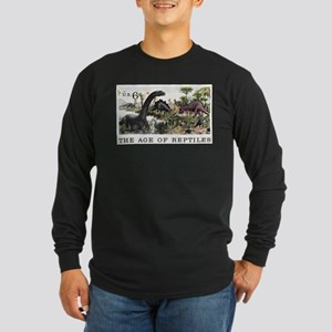 1970 U.S. Dinosaurs Postage Stamp Long Sleeve Dark