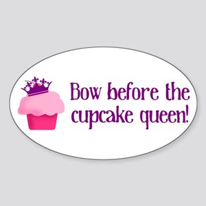 Queen Cupcake Sticker (Oval)