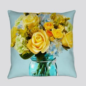 Yellow Roses in Mason Jar Floral Everyday Pillow