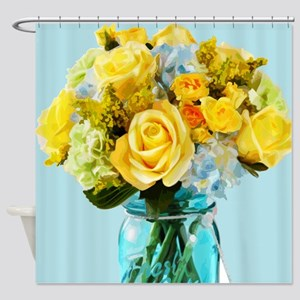 Yellow Roses In Mason Jar Floral Shower Curtain