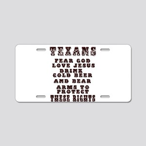 Texans Right to Bare Arms Aluminum License Pla
