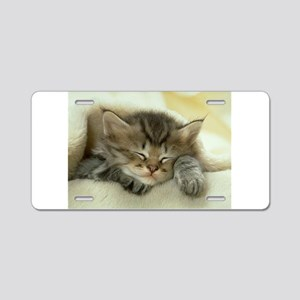 sleeping kitty Aluminum License Plate